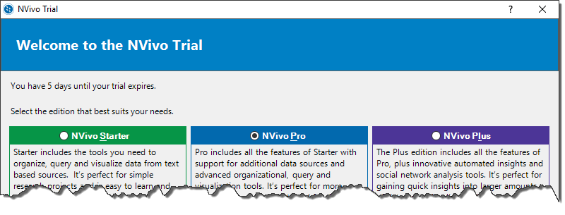NVivo 11 for Windows Help - Tips for trial